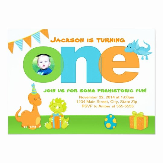 Dinosaur 1st Birthday Invitations Lovely Dinosaur 1st Birthday Invitation 5x7 Card