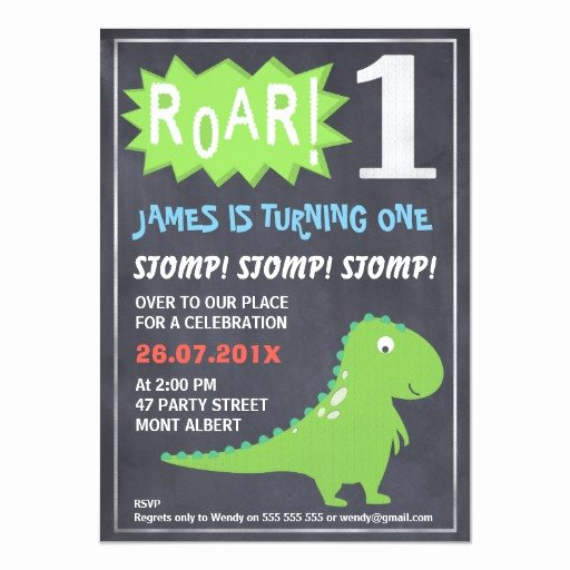 Dinosaur 1st Birthday Invitations New Boys Dinosaur Chalkboard 1st Birthday Invitation