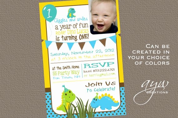 Dinosaur 1st Birthday Invitations New Items Similar to Dinosaur Birthday Invitation First Birthday Dinosaur Party Invitation 1st