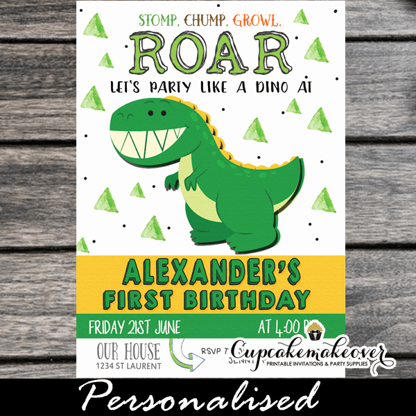 Dinosaur 1st Birthday Invitations Unique Little Dinosaur First Birthday Invitations Cupcakemakeover