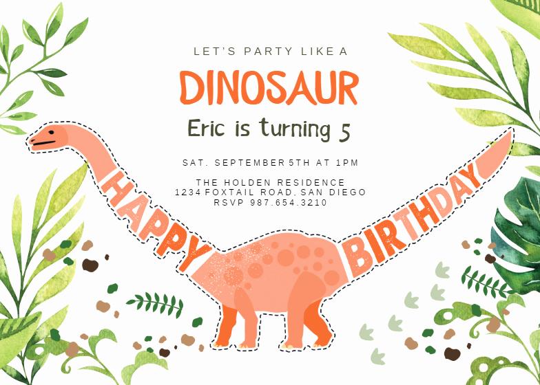 Dinosaur Birthday Invitation Template Awesome Dinosaur Birthday Birthday Invitation Template Free