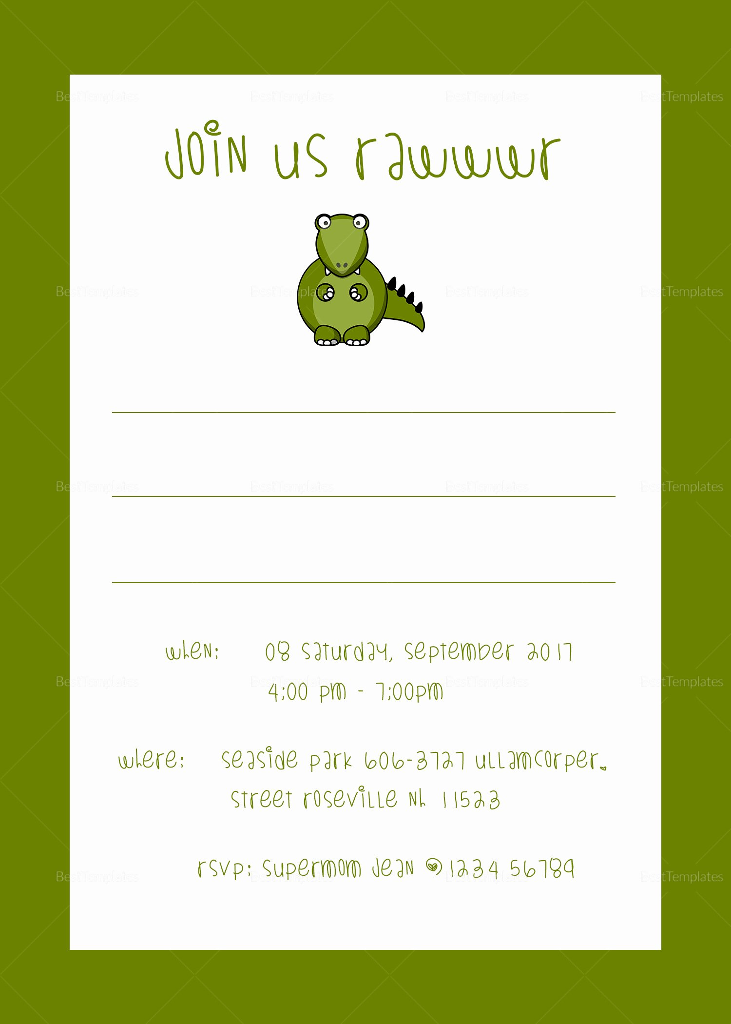 Dinosaur Birthday Invitation Template Fresh Dinosaur Birthday Party Invitation Design Template In Psd Word Publisher Illustrator Indesign