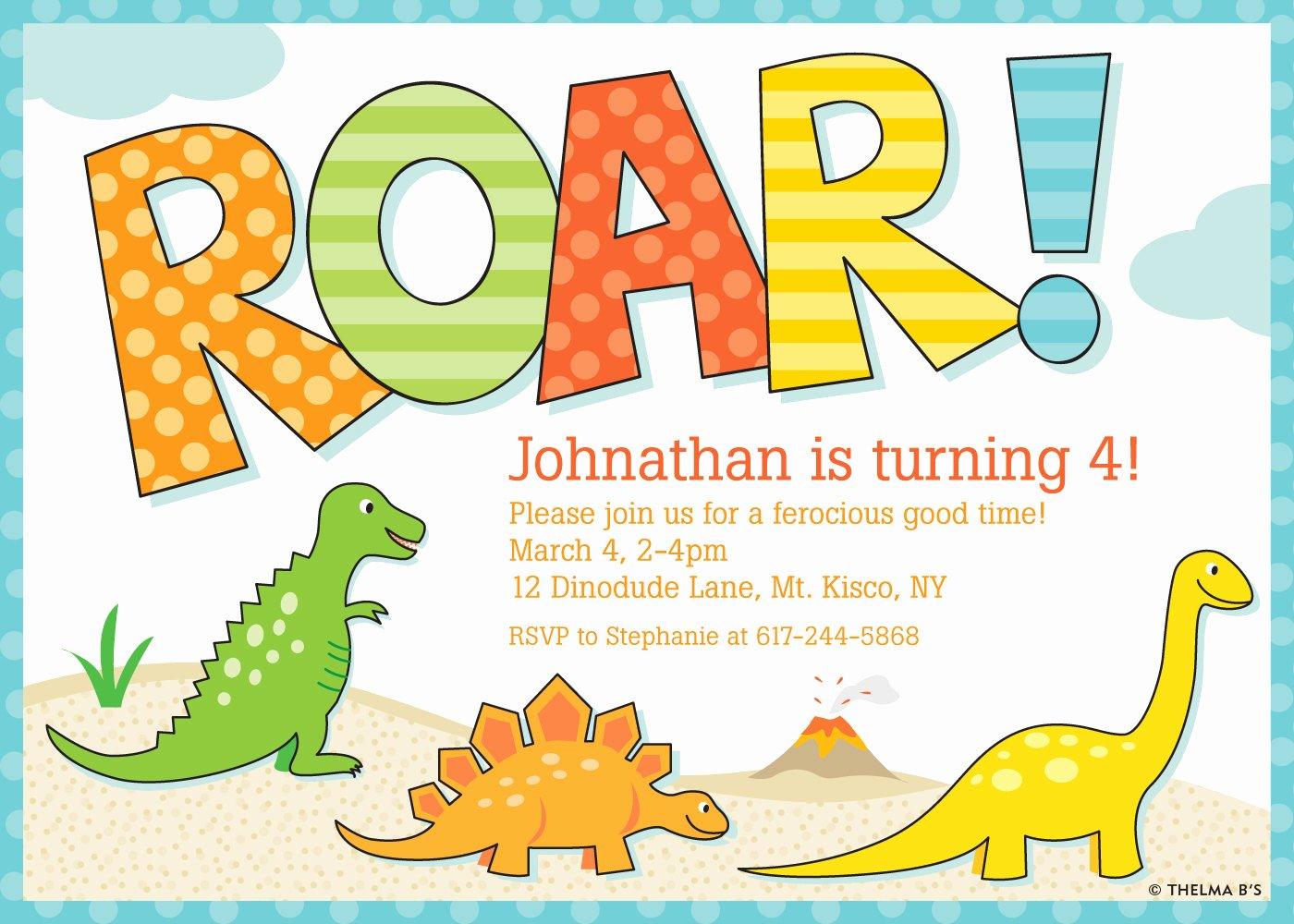 Dinosaur Birthday Invitation Template Lovely Free Printable Dinosaur Birthday Invitations