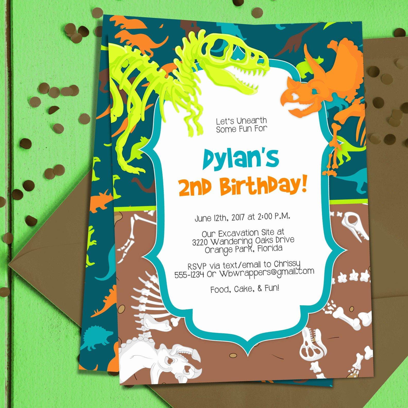 dinosaur dig party invitation template