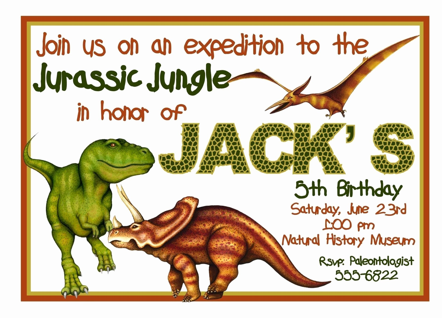 Dinosaur Birthday Invitation Template New Free Printable Dinosaur Birthday Invitation