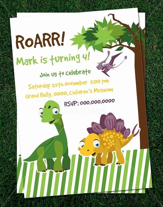 Dinosaur Birthday Invitation Template New Items Similar to Custom Printable Dinosaur Party Birthday Invitation Template On Etsy