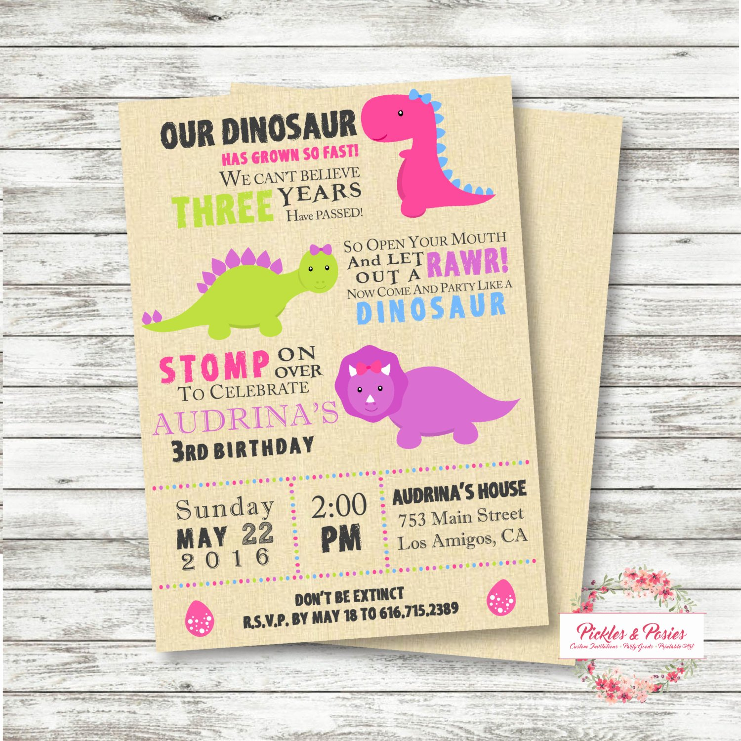 Dinosaur Birthday Invitations Free Awesome Girls Dinosaur Birthday Invitation Pink Dinosaur Invitation