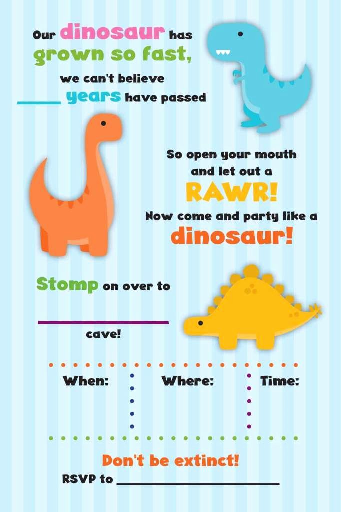 Dinosaur Birthday Invitations Free Awesome Rawr Free Dinosaur Birthday Party Printables