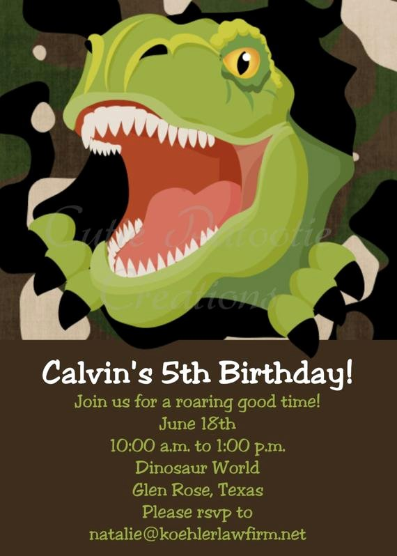 Dinosaur Birthday Invitations Free Awesome T Rex Dinosaur Birthday Invitation Dinosaur by Ewhimsychick