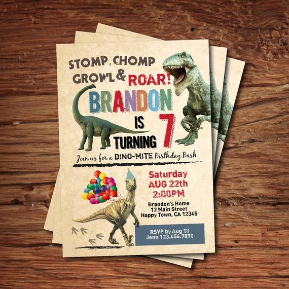Dinosaur Birthday Invitations Free Elegant Dinosaur Birthday Invitation Boy Kids Birthday Invite Rustic