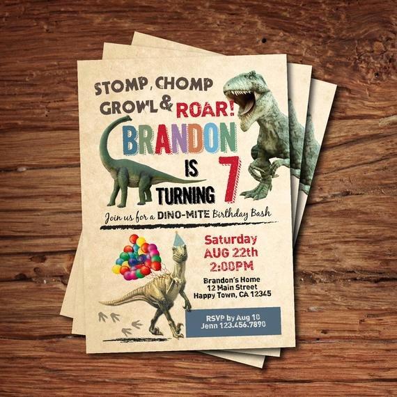 Dinosaur Birthday Invitations Free Elegant Dinosaur Birthday Invitation Boy Kids Birthday Invite Rustic