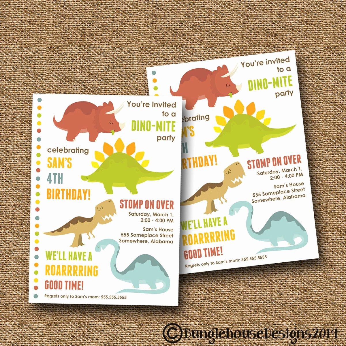 Dinosaur Birthday Invitations Free Elegant Dinosaur Birthday Invitation Cute Dinosaur Invitation Boys