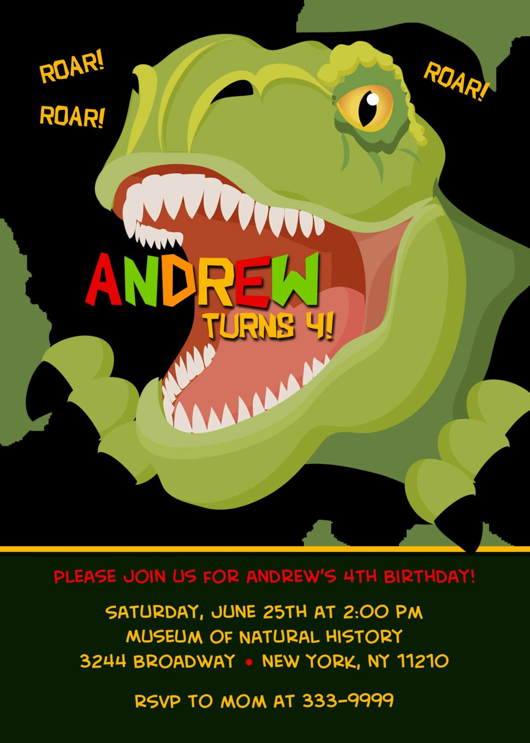 Dinosaur Birthday Invitations Free Fresh Custom Personalized T Rex Dinosaur Birthday Party by theprintfairy