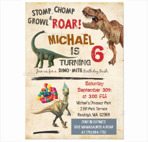 Dinosaur Birthday Invitations Free Unique 26 Dinosaur Birthday Invitation Templates – Free Sample Example format Download
