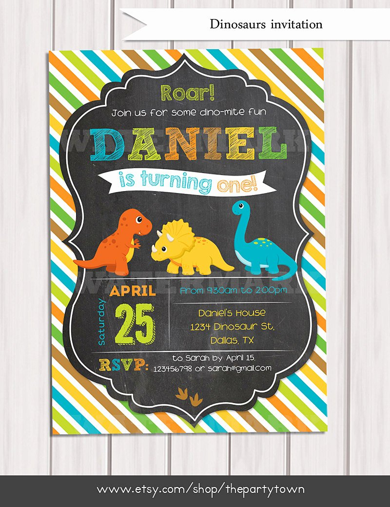 Dinosaur Birthday Invitations Free Unique Dinosaur Birthday Invitation Dinosaur Chalkboard Invitation