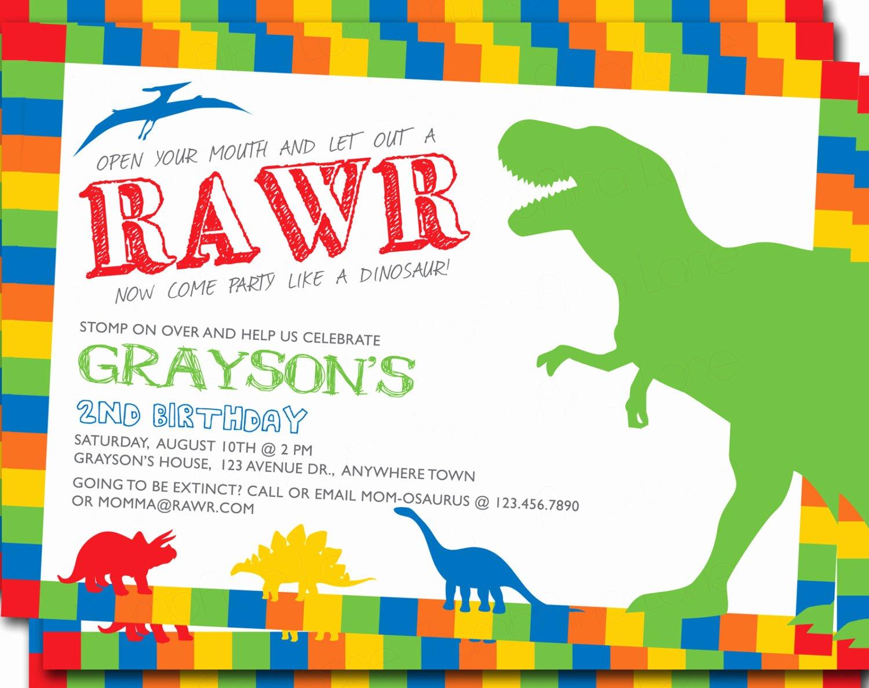 Dinosaur Birthday Invitations Free Unique Dinosaur Printable Invitation Birthday Party Diy T Rex