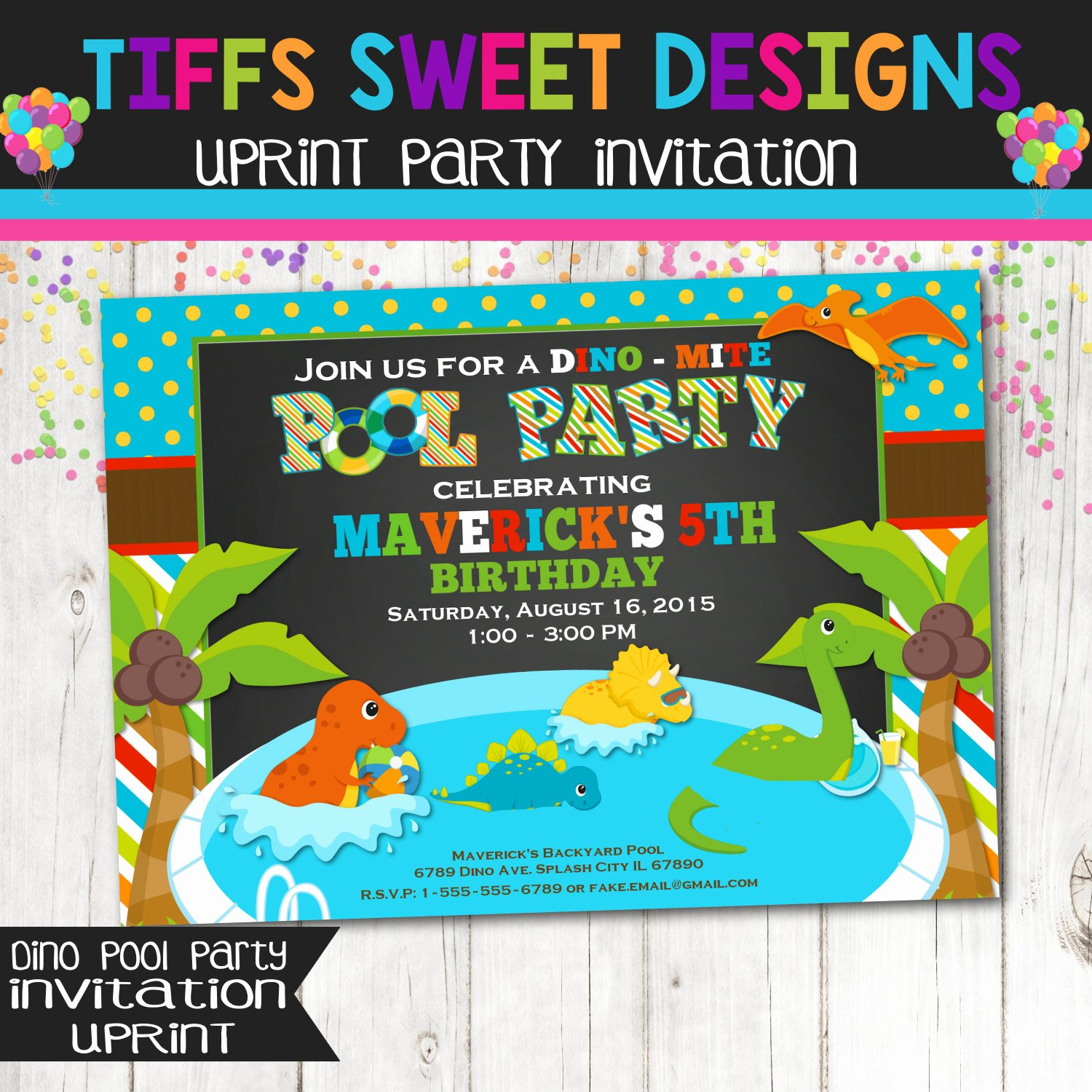 Dinosaur Birthday Party Invitations Awesome Dinosaur Pool Party Invitation Birthday Party Dino