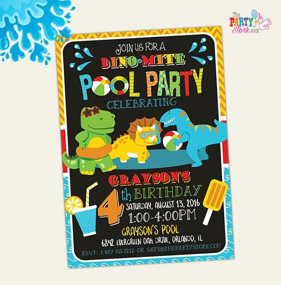 Dinosaur Birthday Party Invitations Awesome Dinosaur Pool Party Invitation Dinosaur Birthday Party