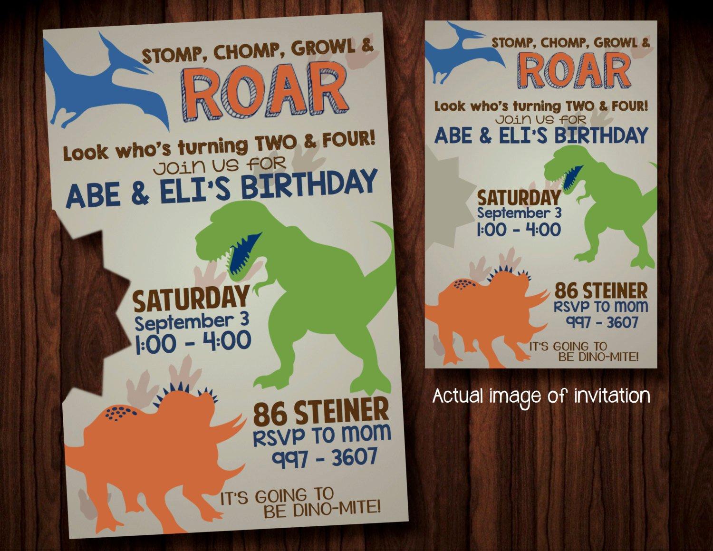 Dinosaur Birthday Party Invitations Elegant Dinosaur Party Invitations Digital File Dino Birthday