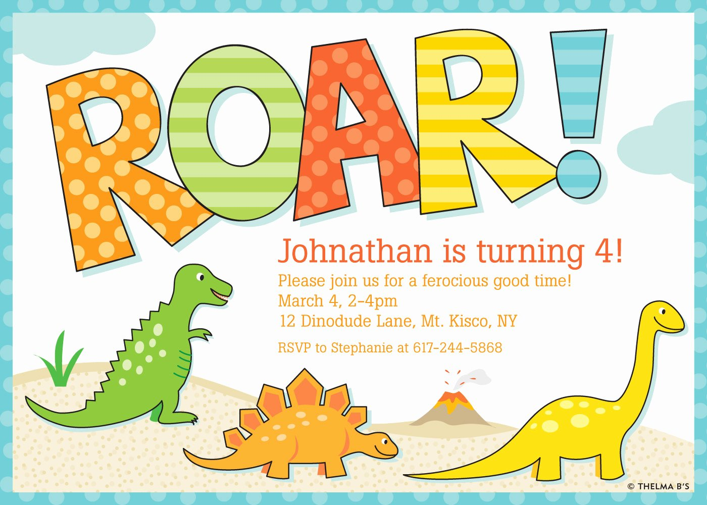 Dinosaur Birthday Party Invitations Inspirational Dinosaur Invitation Dinosaur Party Invitation Dinosaur by thelmabs