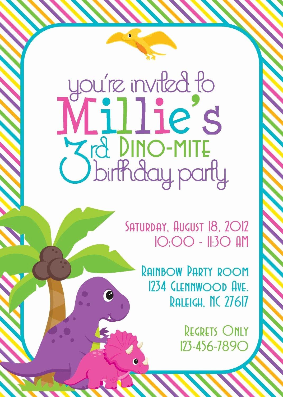 Dinosaur Birthday Party Invitations Lovely Dinosaur Birthday Party Invitation Girl Diy Printable Kids Birthdays