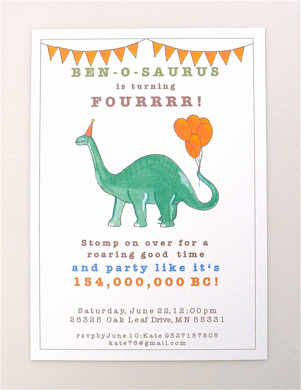 Dinosaur Birthday Party Invitations New Printable Dinosaur Invitation Brontosaurus Boys Party