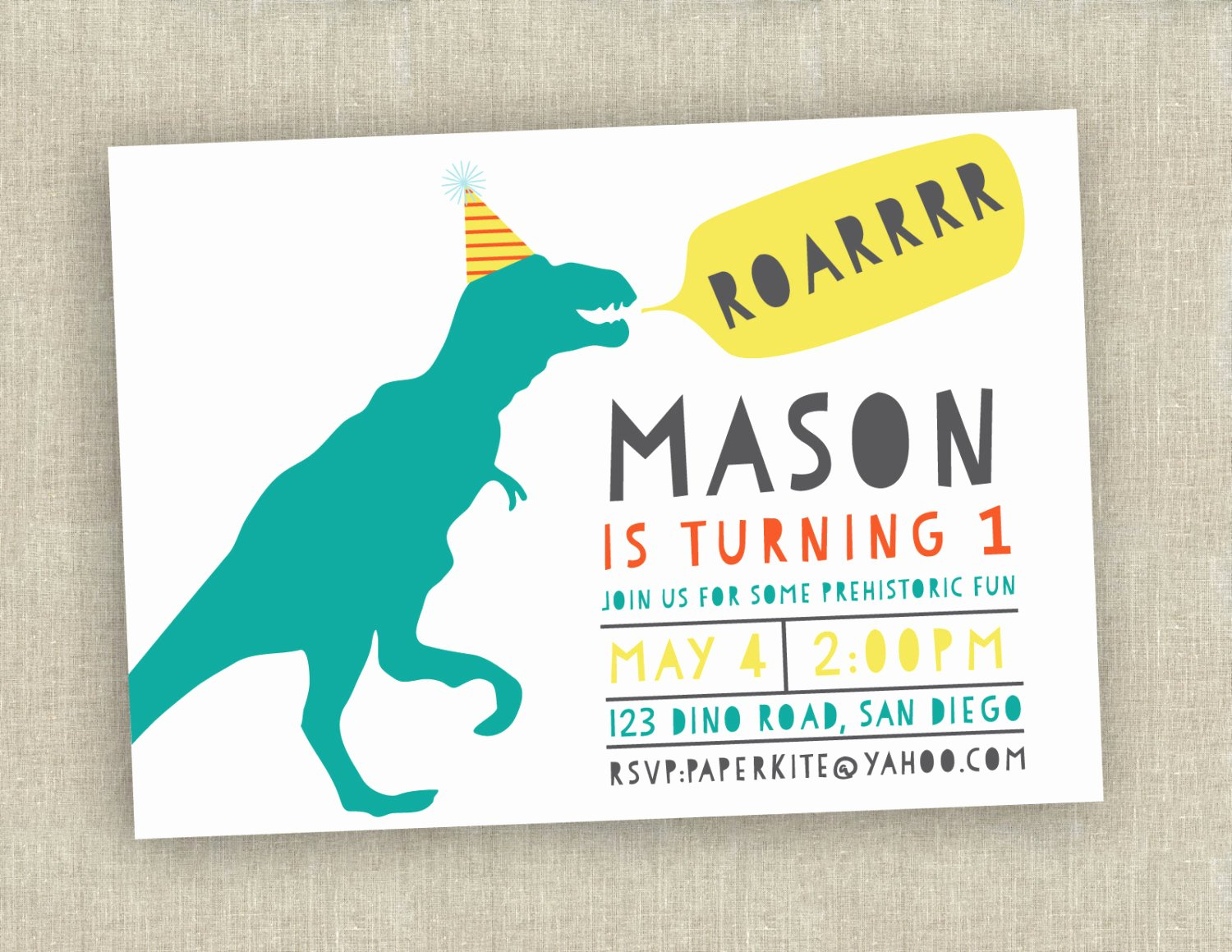 Dinosaur First Birthday Invitations Awesome Dinosaur Birthday Invitation First Birthday Invitation