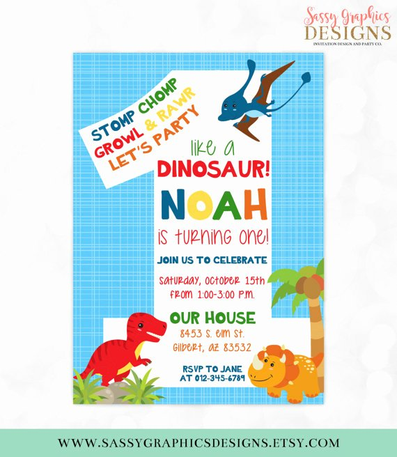 Dinosaur First Birthday Invitations Best Of Dinosaur Birthday Invitation Dino Party 1st Birthday T Rex Boy
