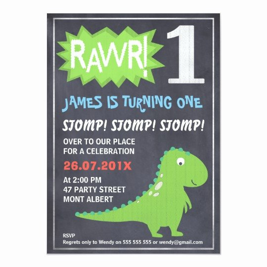 Dinosaur First Birthday Invitations Best Of Rawr Dinosaur Chalkboard 1st Birthday Invitation