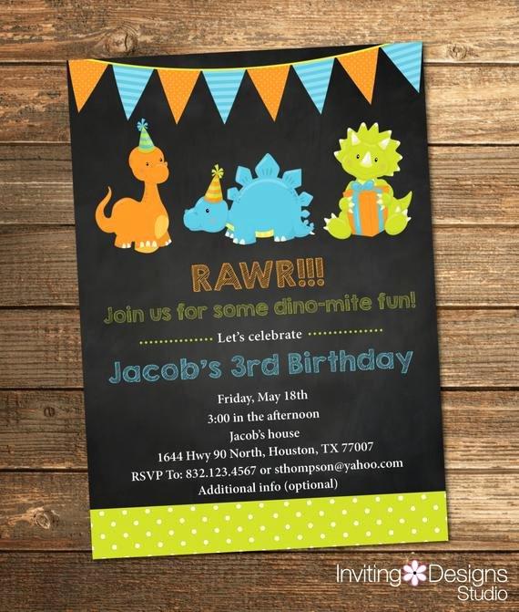 Dinosaur First Birthday Invitations Elegant Items Similar to Dinosaur Birthday Invitation Boy Birthday Chalkboard Third First Fifth