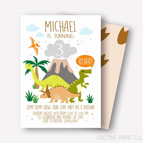 Dinosaur First Birthday Invitations Inspirational Dinosaur Birthday Invitation Dinosaur Invitation Reptile