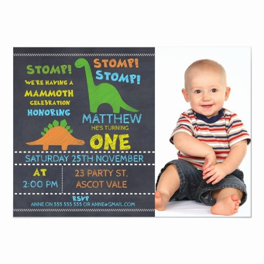Dinosaur First Birthday Invitations Inspirational Dinosaur Chalkboard 1st Birthday Invitation