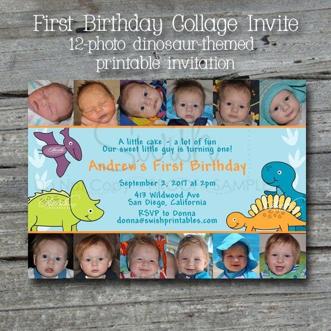 Dinosaur First Birthday Invitations Lovely Dinosaur First Birthday Invitation Printable 1st Birthday