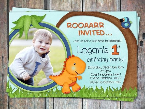 Dinosaur First Birthday Invitations Lovely Lil Dino First Birthday Invitation