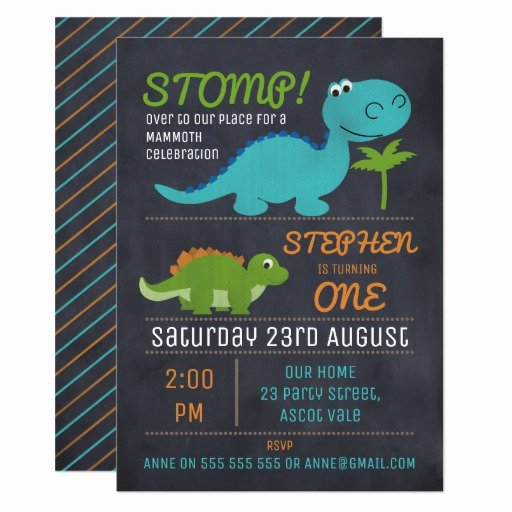 Dinosaur First Birthday Invitations New Chalkboard Cute Dinosaurs Birthday Invitation
