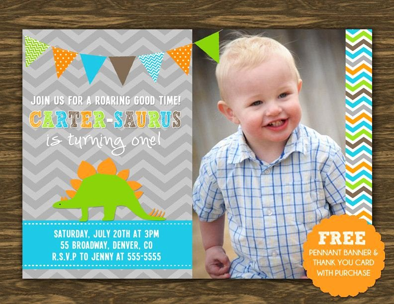 Dinosaur First Birthday Invitations Unique Dinosaur Birthday Invitation Printable Free Pennant Banner and Thank You Card with Purchase