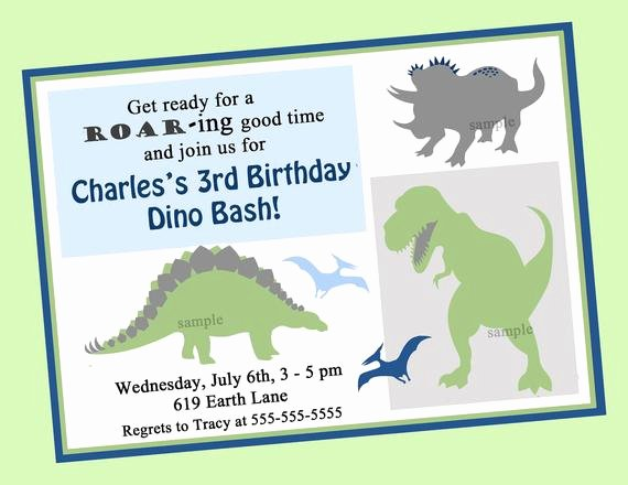 Dinosaur Invitations Free Printable Elegant Dinosaur Birthday Invitation Printable or Printed with Free