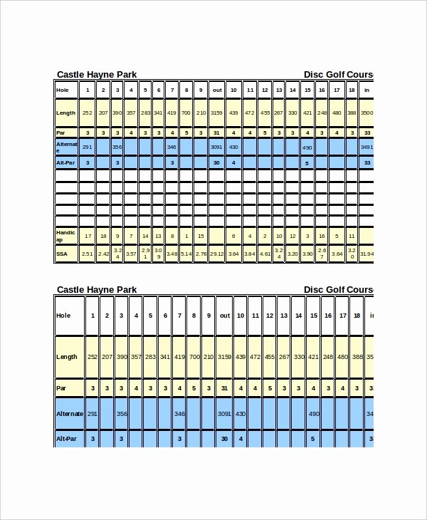 Disc Golf Score Cards Lovely 10 Golf Scorecard Templates – Free Sample Example format Download