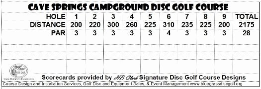 Disc Golf Score Cards Lovely Cavecreekcampgroundky