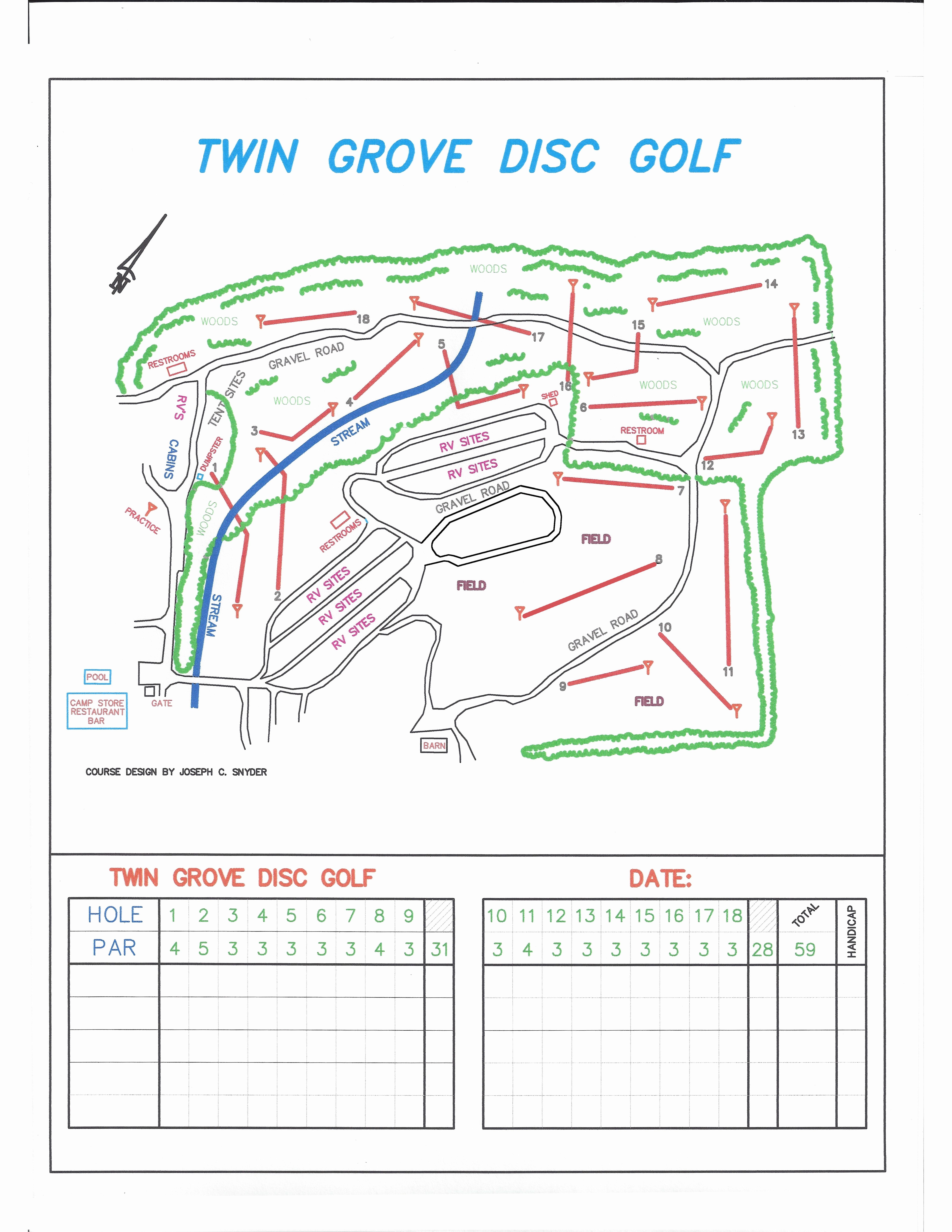 Disc Golf Score Cards New Rv Resort Layout Twin Grove Resort & Cottages Pa
