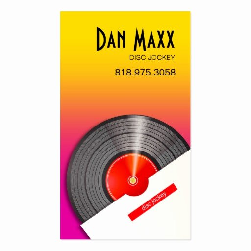 Disc Jockey Business Card Awesome Dj Disc Jockey Vinyl Hot Wax Music Business Card