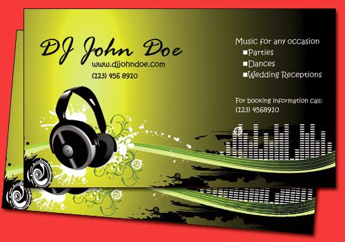 Disc Jockey Business Card Elegant All Amazing Designs Dj Business Cards