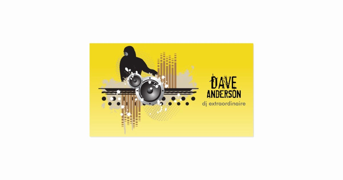 Disc Jockey Business Card Inspirational Funky Disc Jockey Dj Grunge Business Card
