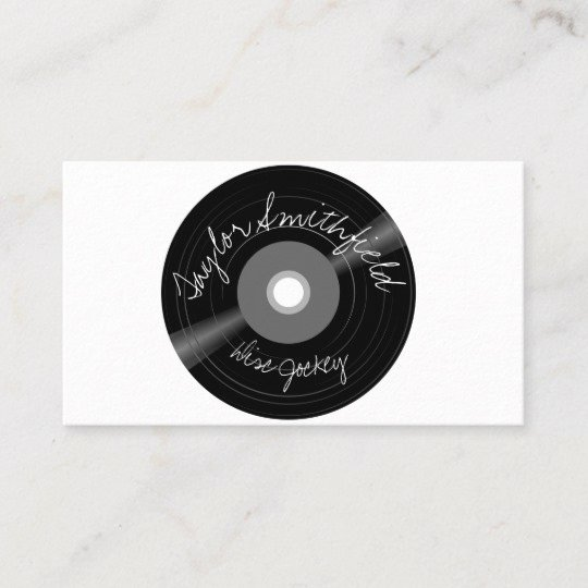 Disc Jockey Business Card New Vinyl Disc Jockey Dj Music Business Card
