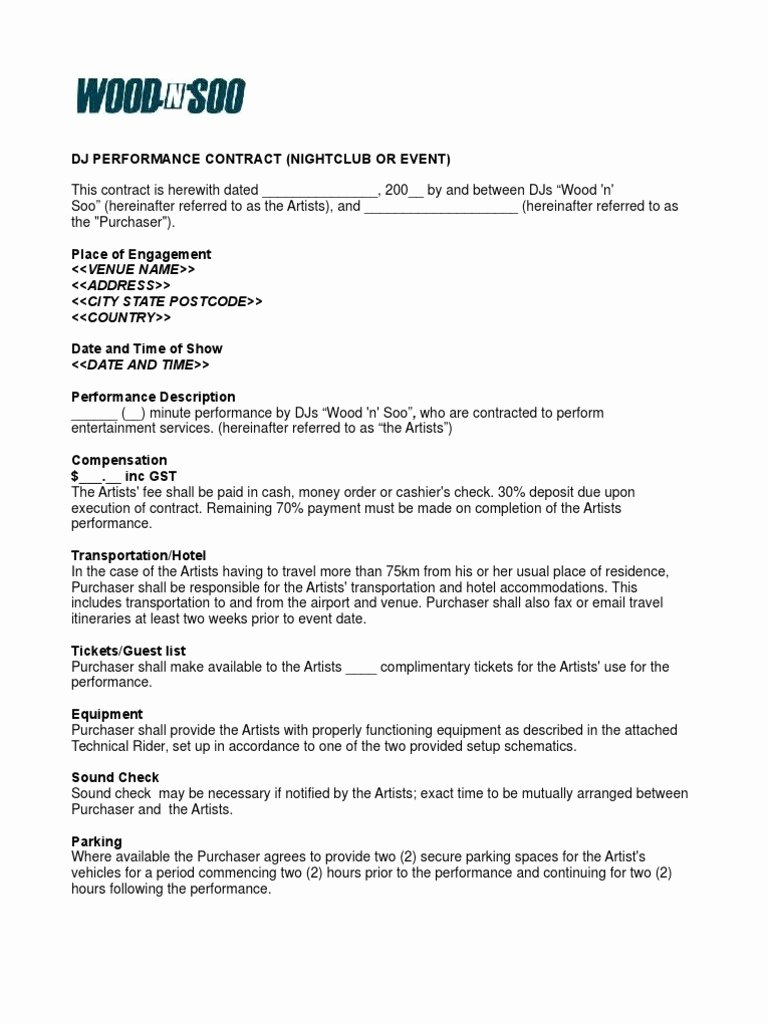 Disc Jockey Contract form Awesome Nightclub event Contract Sample Disc Jockey