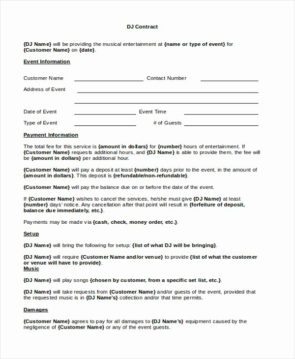 Disc Jockey Contract form Best Of Disc Jockey Contracts Template