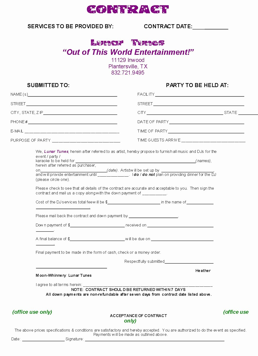 Disc Jockey Contract form Lovely Dj Contract Free Printable Documents