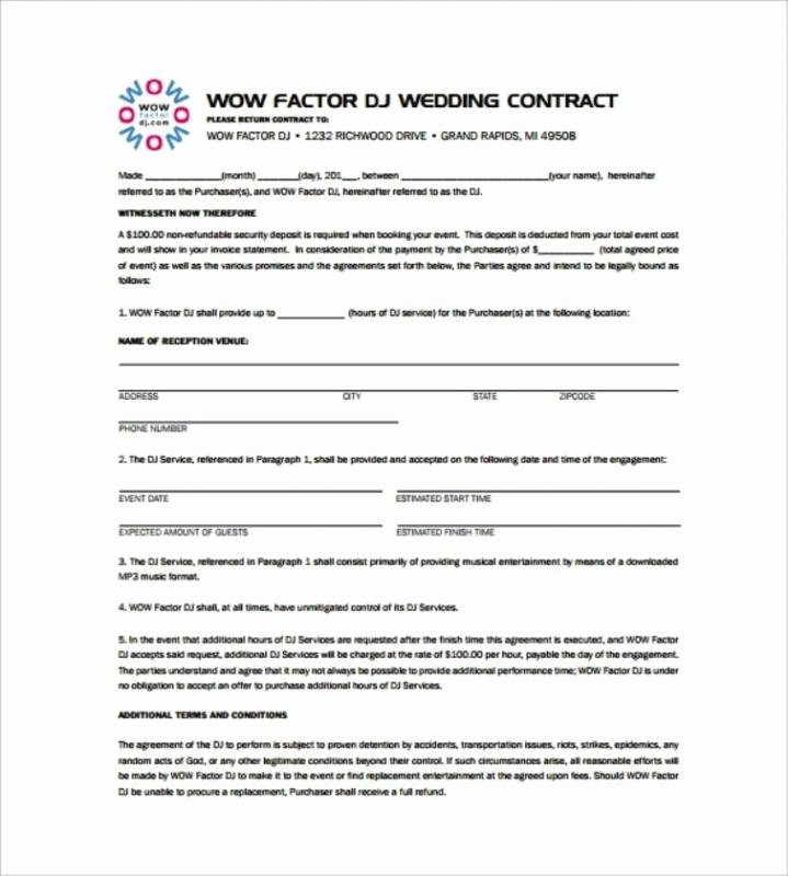 Disc Jockey Contract form New Disc Jockey Contracts Template