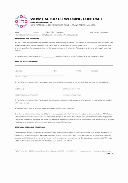 Disc Jockey Contract form Unique 10 Wedding Planner Terms and Conditions Template Oetol