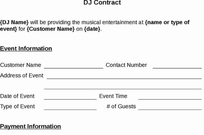 Disc Jockey Contract form Unique 8 Dj Contract Template Free Download